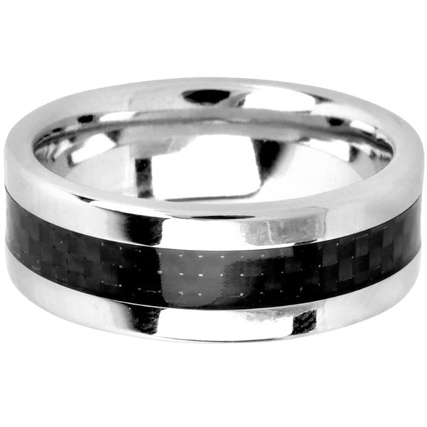 Carbon Fiber Diamontrigue Jewelry: INOX Jewelry Cobalt Chrome Black Carbon Fiber Ring