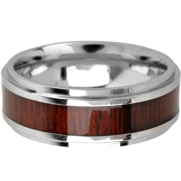 INOX Jewelry Cobalt Chrome Wood Inlay Band Ring