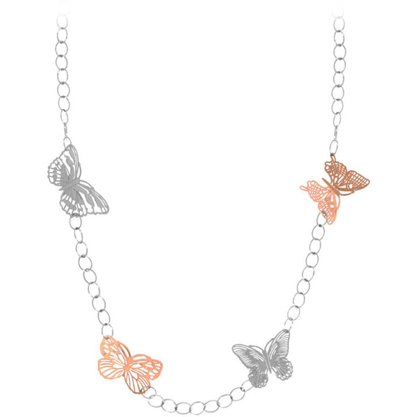 INOX Jewelry 316L Stainless Steel Two Tone Butterfly Necklace