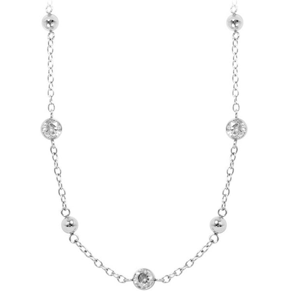 INOX Jewelry 316L Stainless Steel Cubic Zirconia Ball Necklace