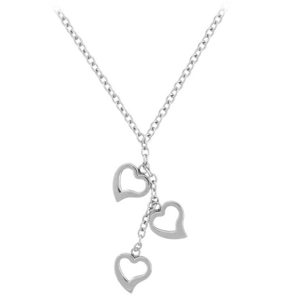 INOX Jewelry 316L Stainless Steel Cut Out Heart Necklace
