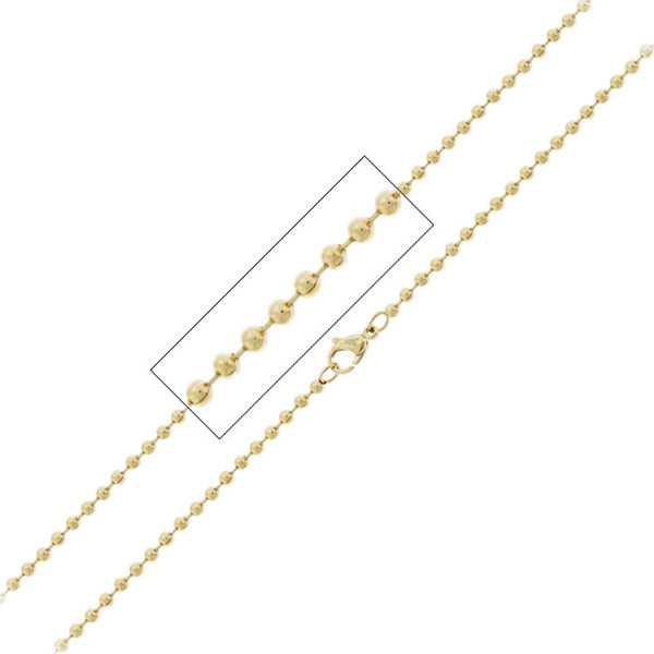 INOX Jewelry 316L Stainless Steel Gold Plated 3mm Bead Chain Necklace