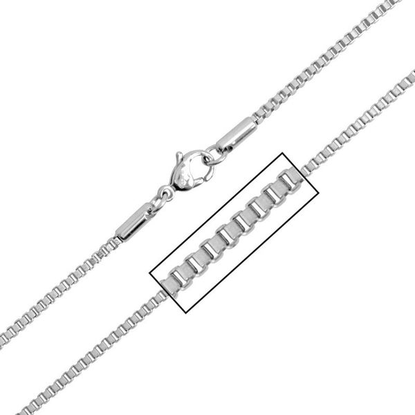 INOX Jewelry 316L Stainless Steel 2mm Box Chain Necklace