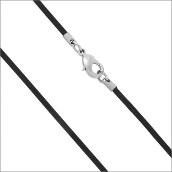 Inox Jewelry 316L Stainless Steel 2mm Rubber Necklace