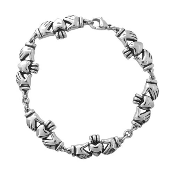 Inox Jewelry Women's Stainless Steel Claddagh Link Bracelet