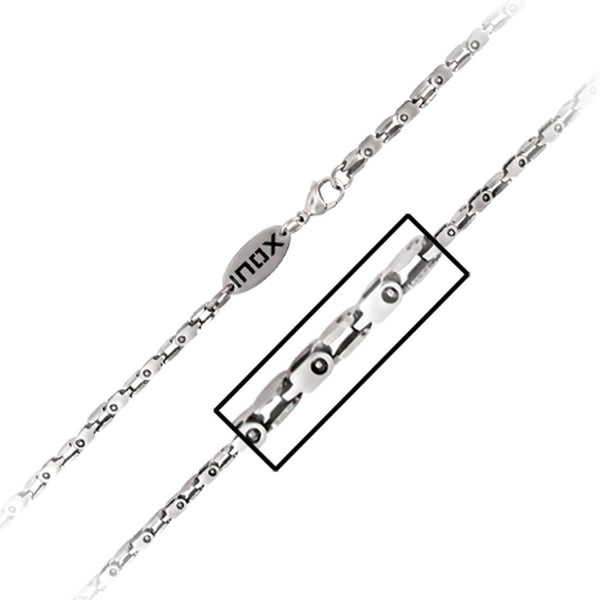 22 Inches - INOX Jewelry 316L Stainless Steel Knot Links Chain Necklace
