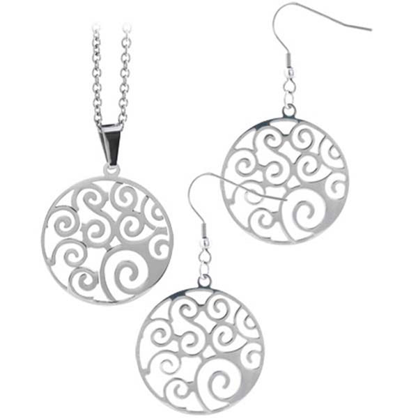 INOX Jewelry 316L Stainless Steel Filigree Earring and Necklace Set