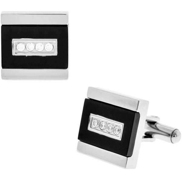 INOX Jewelry 316L Stainless Steel Black Plated CZ Cufflinks