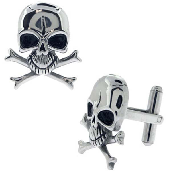 INOX Jewelry 316L Stainless Steel Black Plated Skull Cufflinks