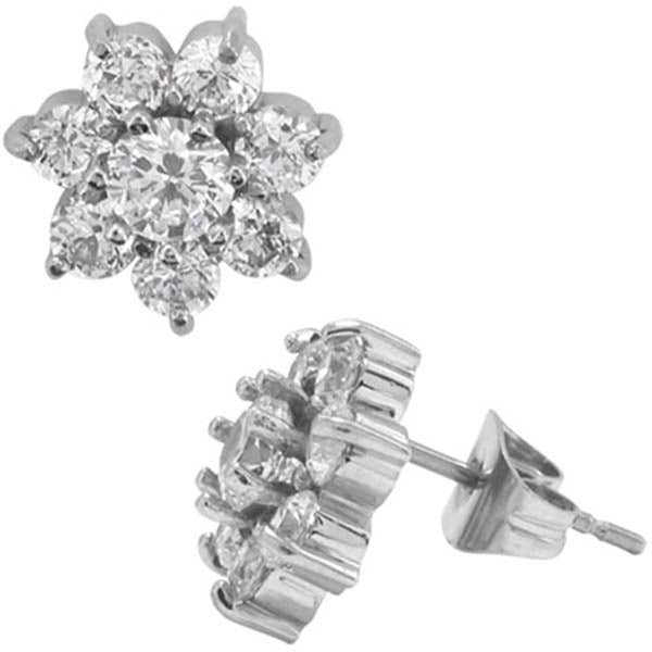 INOX Jewelry 316L Stainless Steel CZ Flower Stud Earrings