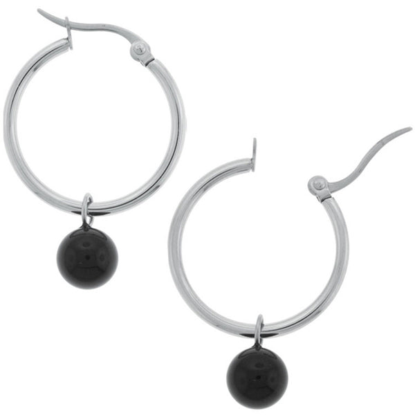 INOX Jewelry 316L Stainless Steel 20mm Hoop Black 8mm Bead Earrings