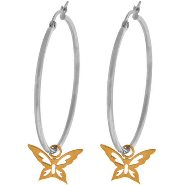 INOX Jewelry 316L Stainless Steel 40mm Hoop Butterfly Earrings