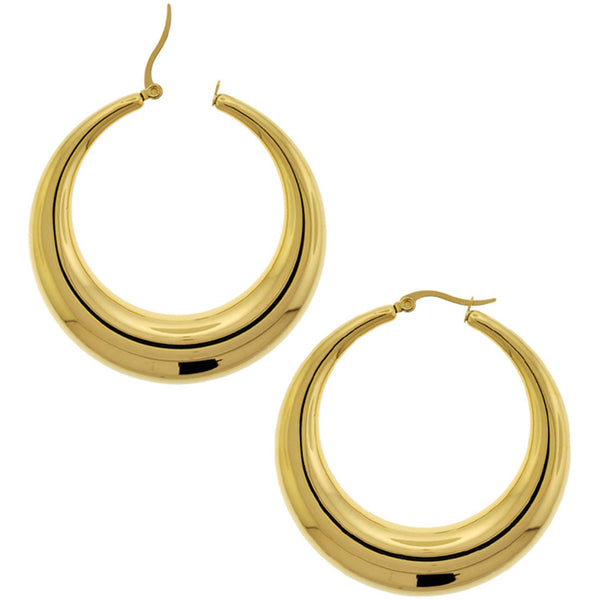 INOX Jewelry 316L Stainless Steel Gold IP Plated Hoop Earrings 20 to 50mm