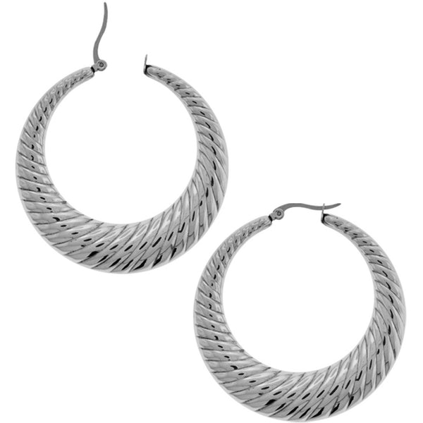 INOX Jewelry 316L Stainless Steel Twirl Hoop Earrings 40 to 50mm