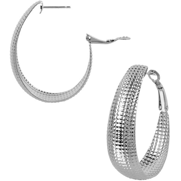 INOX Jewelry 316L Stainless Steel 40mm Textured Hoop Earrings