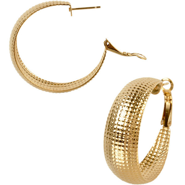 INOX Jewelry 316L Stainless Steel 35mm Gold Plated Textured Hoop Earrings