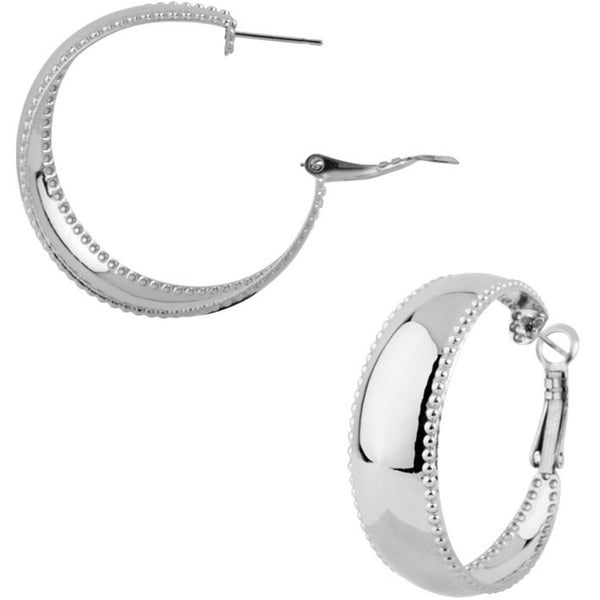 INOX Jewelry 316L Stainless Steel Studded Hoop Earrings