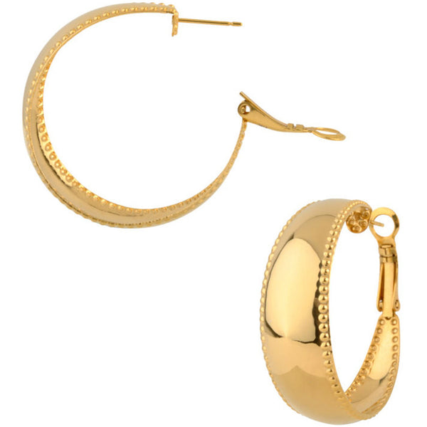 INOX Jewelry 316L Stainless Steel Gold Plated Studded Hoop Earrings