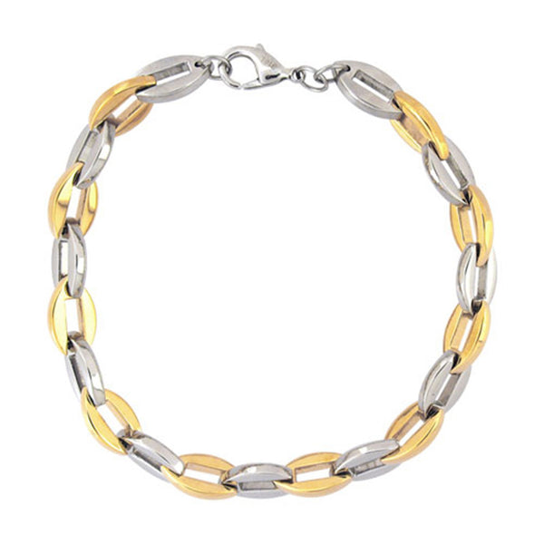 Inox Jewelry Men's IP Gold Stainless Steel Sagos Link Bracelet