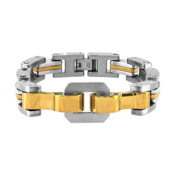 Inox Jewelry Men's Stainless Steel Gold PVD Bracelet
