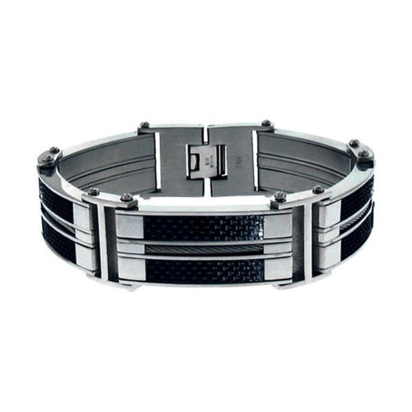 Inox Jewelry Men's Black Carbon Cable Stainless Steel Bracelet