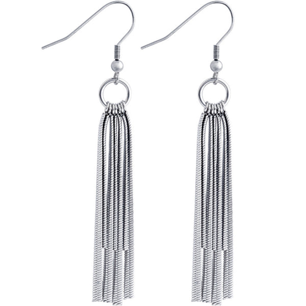 Inox Jewelry Women's 316L Stainless Steel Multi Chain Dangle Earrings