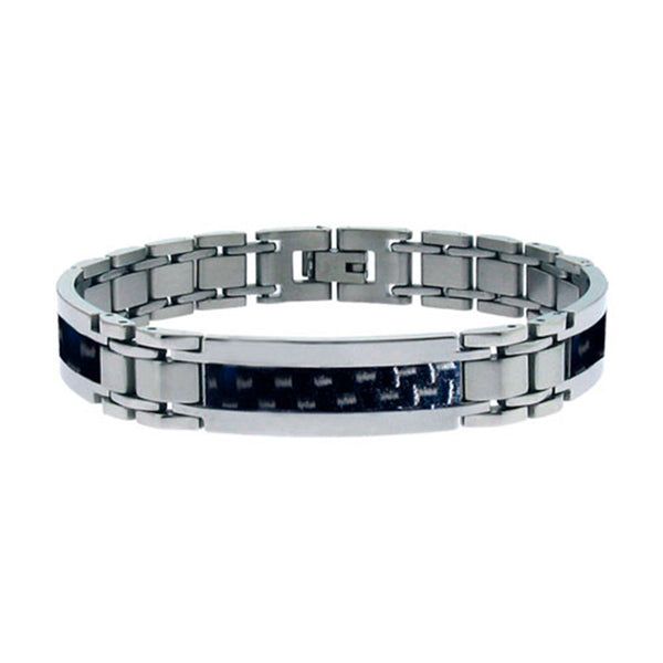 Inox Jewelry Black Carbon Fiber Stainless Steel Bracelet