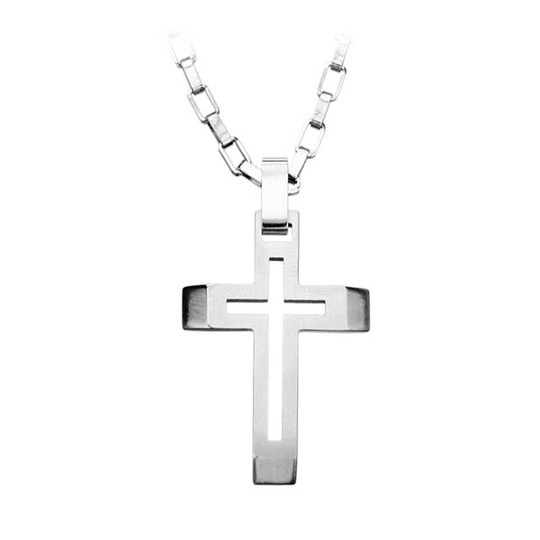 Inox Jewelry Men's Stainless Steel Cut Out Double Cross Pendant