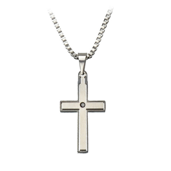 Inox Jewelry Men's Stainless Steel Black PVD Edges Cross Pendant