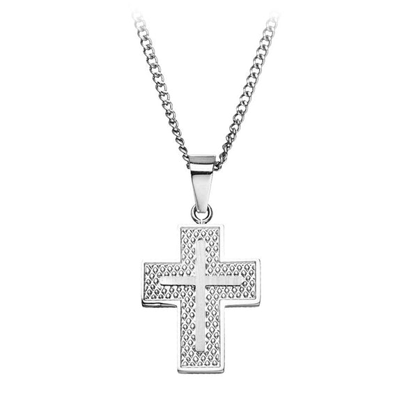 Inox Jewelry Men's Stainless Steel Double Netted Cross Pendant