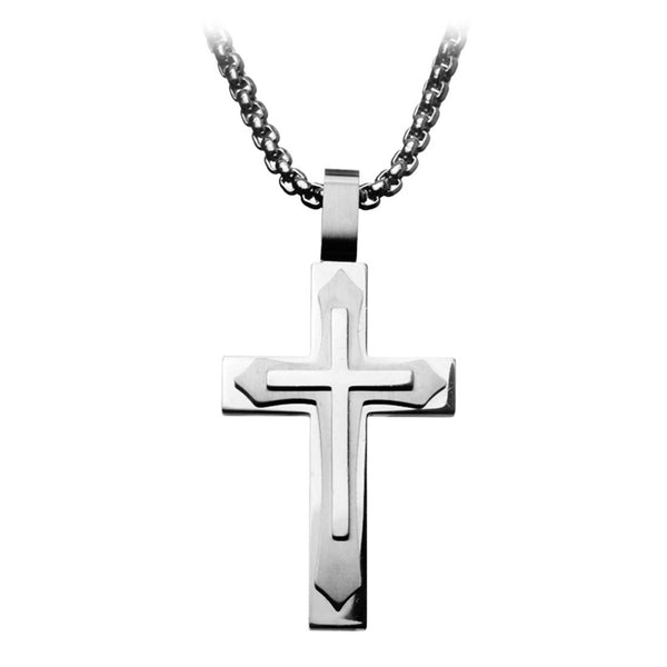 Inox Jewelry Men's Stainless Steel Triple Cross Pendant