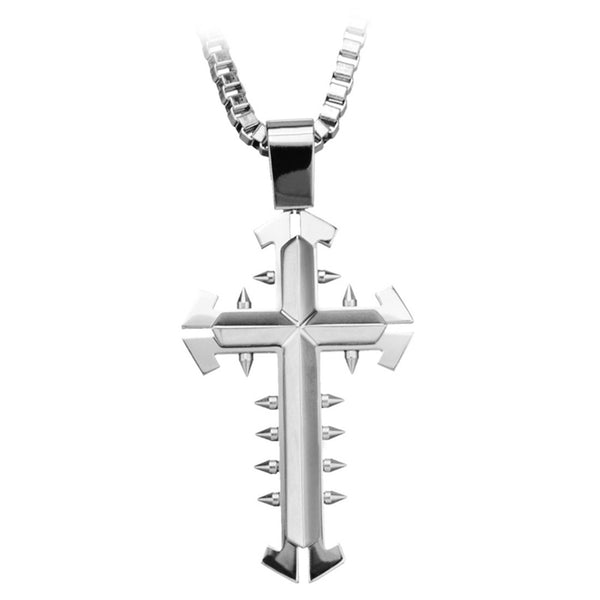 Inox Jewelry Men's Stainless Steel  Spiked  Gothic Cross Pendant