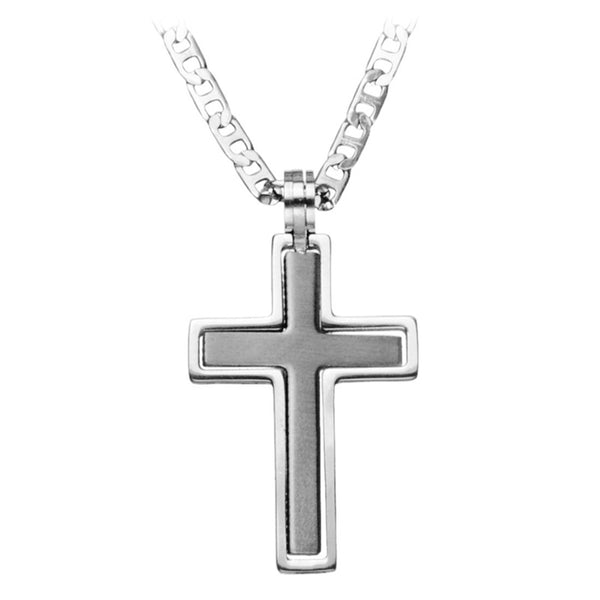 Inox Jewelry Men's Stainless Steel Double Cross Pendant