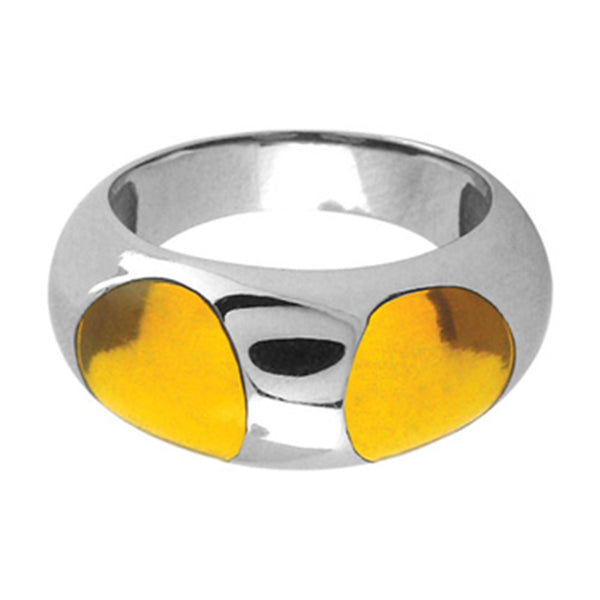 Inox Jewelry Yellow Resin 316L Stainless Steel Ring