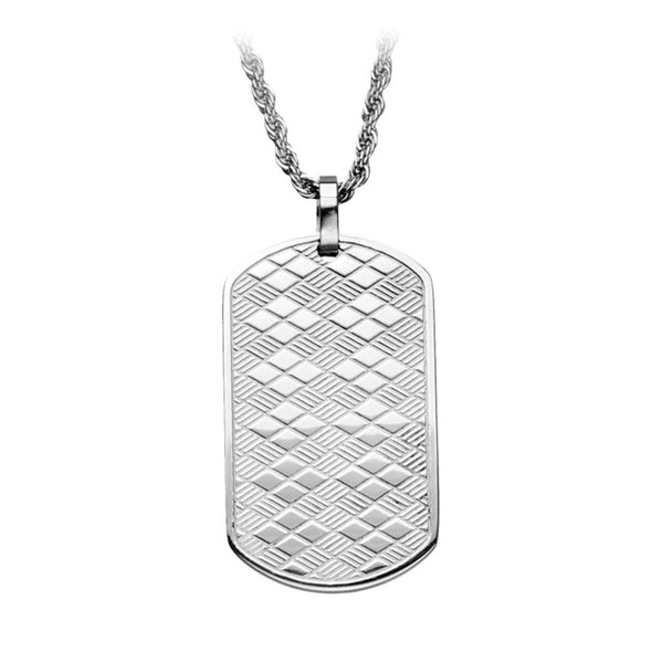 Inox Jewelry Men's Stainless Steel  Chess Pattern Dog Tag Pendant