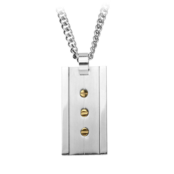 Inox Jewelry Men's Stainless Steel Rectangular Pendant Gold PVD Screws