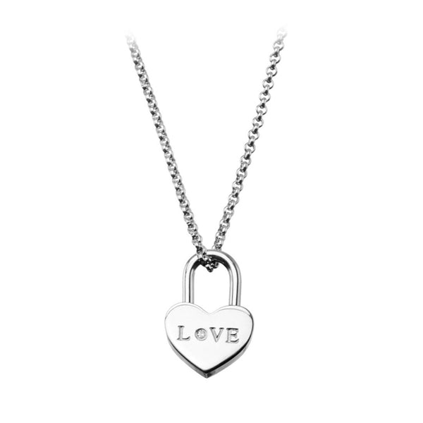 Inox Jewelry Women's Stainless Steel Heart Lock Love Pendant