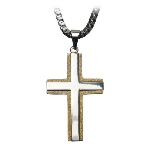 Inox Jewelry Men's Stainless Steel Sanded Gold PVD Cross Pendant