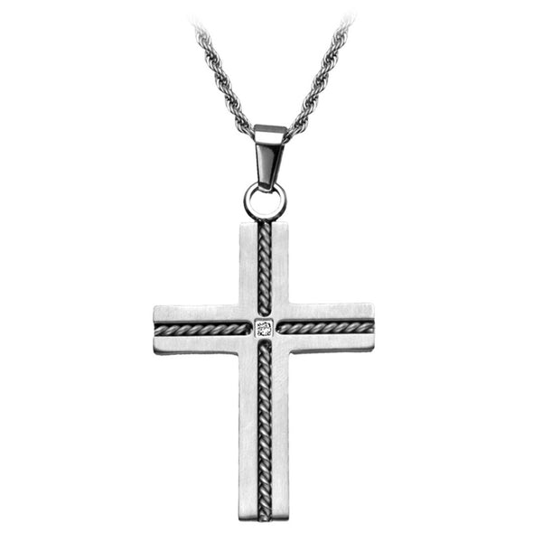 Inox Jewelry Men's Stainless Steel Twisted Cable CZ  Cross Pendant