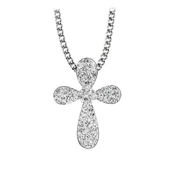Inox Jewelry Women's Stainless Steel CZ Paved Cross Pendant Necklace