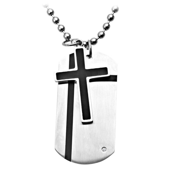 Inox Jewelry Men's Stainless Steel Double Dog Tag Cross Necklace