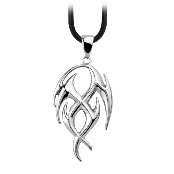 Inox Jewelry Men's Stainless Steel Twisted Tribal Design Necklace