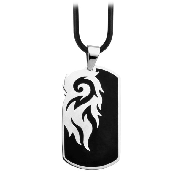 Inox Jewelry Men's Stainless Steel Black-Plated Dog Tag Tribal Necklace