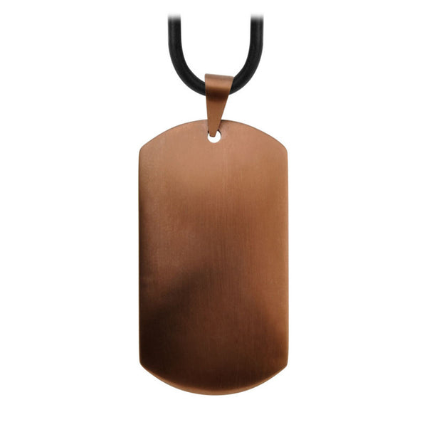 Inox Jewelry Men's Stainless Steel Cappuccino PVD Raised Dome Dog Tag Necklace
