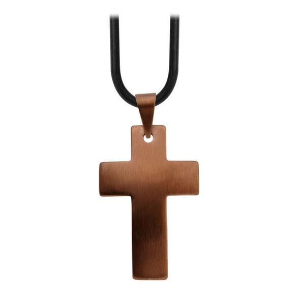 Inox Jewelry Men's Stainless Steel Cappuccino PVD Raised Dome Cross Necklace