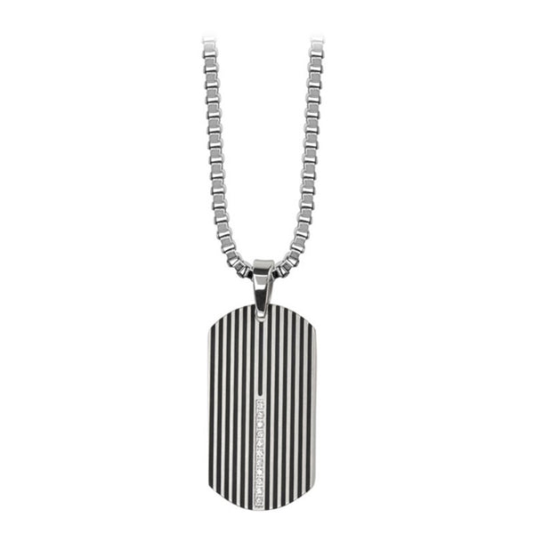 Inox Jewelry Men's Stainless Steel Black IP Lined CZ Dog tag Necklace