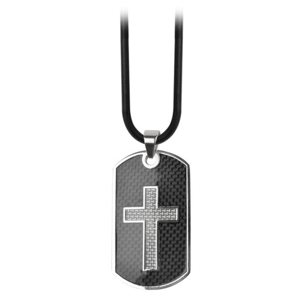 Inox Jewelry Men's Stainless Steel Carbon Fiver Cross Dog Tag Necklace