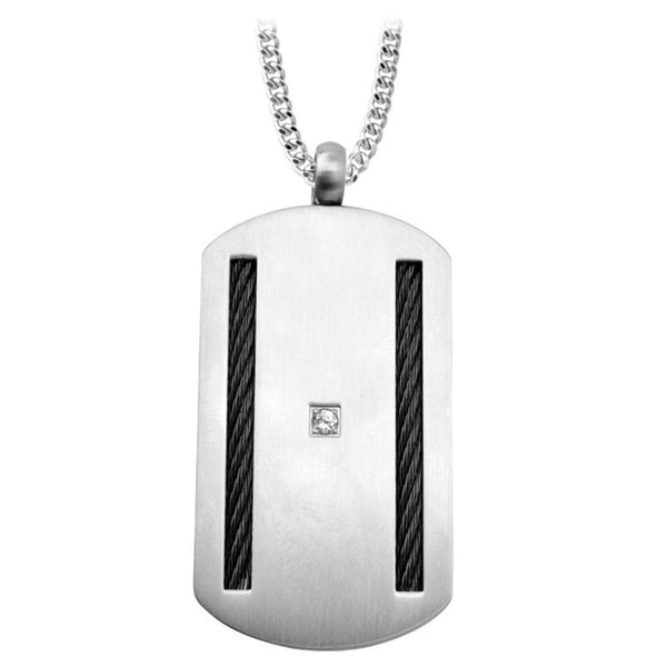 Inox Jewelry Men's Stainless Steel Black Cable CZ Dog Tag Necklace