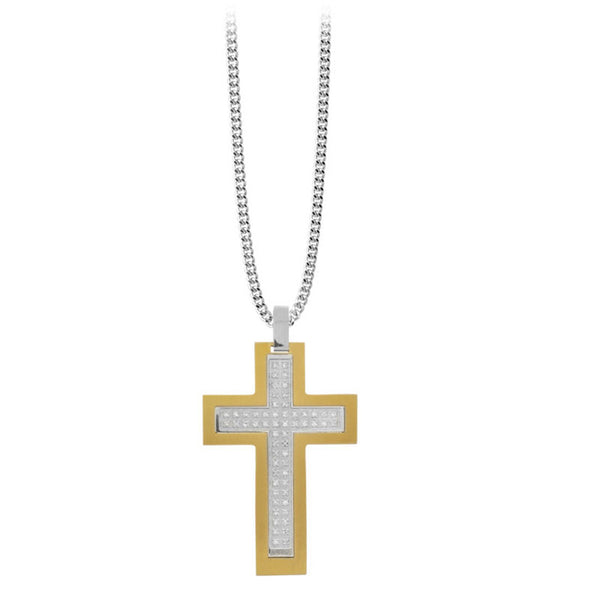 Inox Jewelry Men's Stainless Steel Gold PVD CZ Cross Necklace