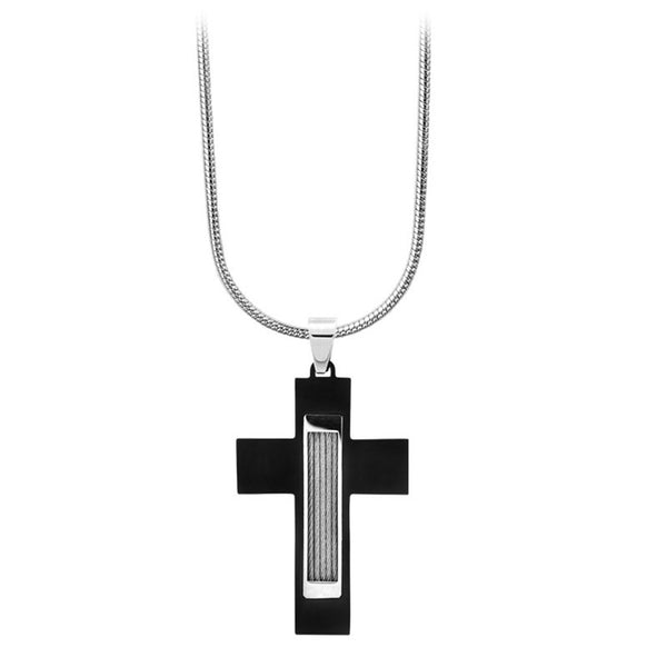 Inox Jewelry Men's Stainless Steel Black PVD Cable Cross Necklace